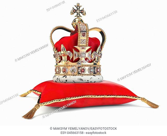 Golden crown on red velvet pillow for coronation. Royal symbol of british UK monarchy. 3d illustration