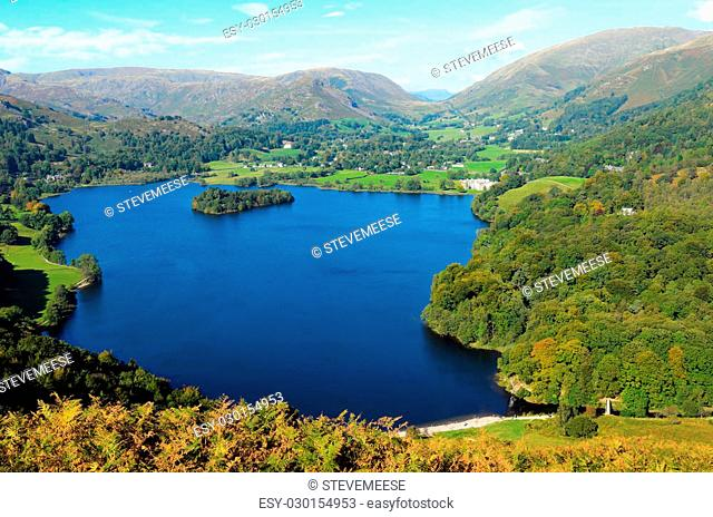 Grasmere Lake from Loughrigg Fell in Lake District National Park England