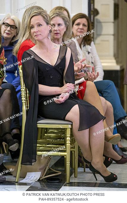 Princess Margarita de Bourbon de Parme presents her jewelry line Leaves during the fashion show of Dutch designer Sheila de Vries in the Amstel hotel in...