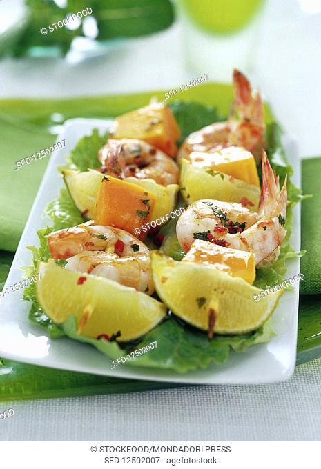 Shrimp and papaya skewers