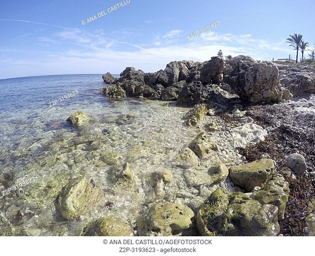 Las Rotas beach in Denia. Alicante, Spain
