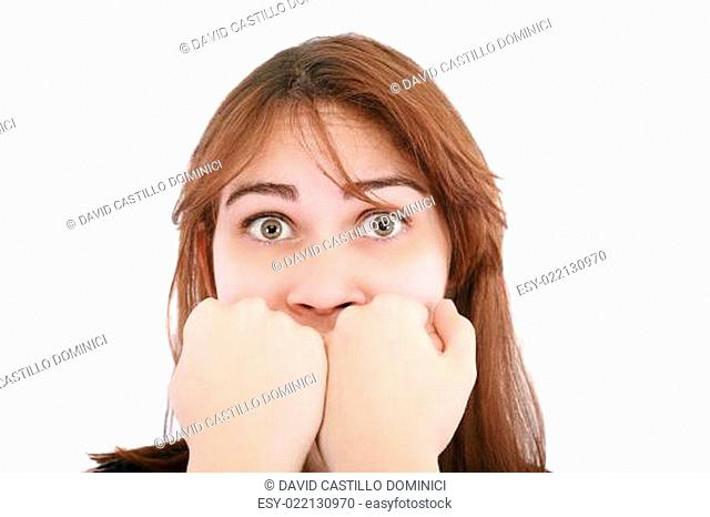 scared woman screaming with hands on the mouth isolated on white