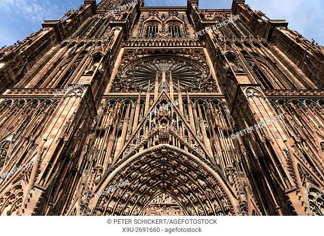 facade detail of the Strasbourg Cathedral, Strasbourg, Alsace, France