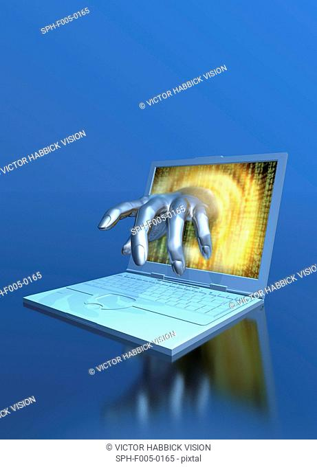 Computer hacking, conceptual artwork