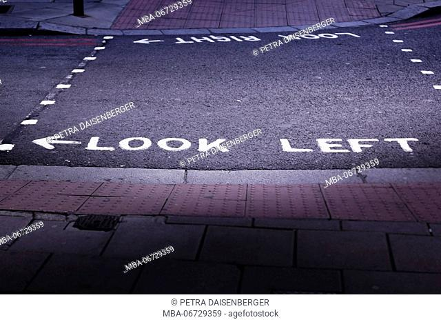 Typical inscription on streets of London, look Left