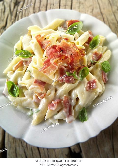 Italian pasta carbonara with pancetta