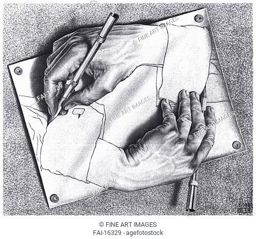 Drawing Hands. Escher, Maurits Cornelis (1898-1972). Lithograph. Modern. 1948. © Escher in het Paleis, Den Haag. 28,2×33,2. Graphic arts