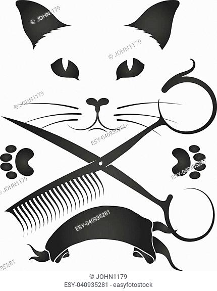 Barber shop for cats and other animals symbol vector