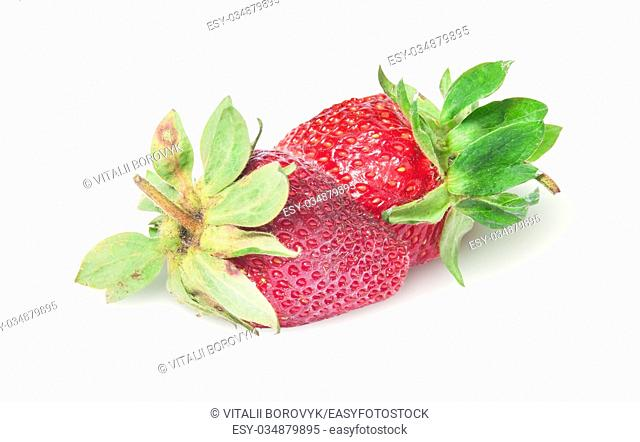 Two freshly strawberries rotated isolated on white background