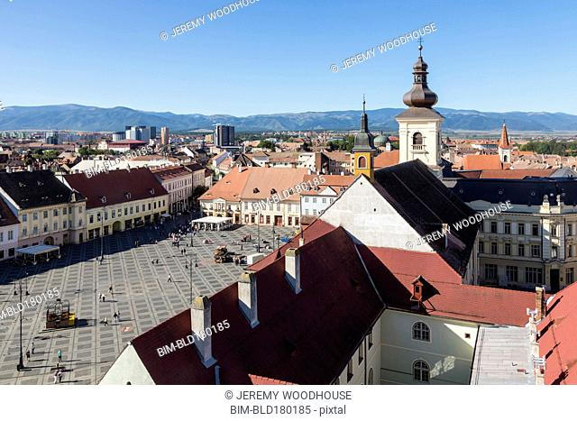 Aerial view of Sibiu cityscape and blue sky, Sibiu, Romania
