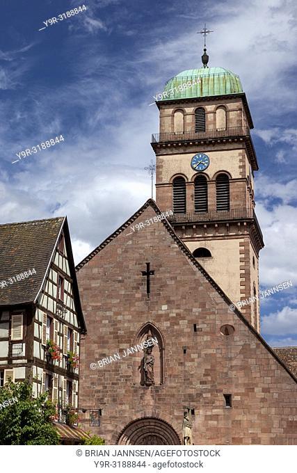 Tower of Eglise Sainte-Croix Kaysersberg, Kaysersberg-Vignoble, Alsace, France