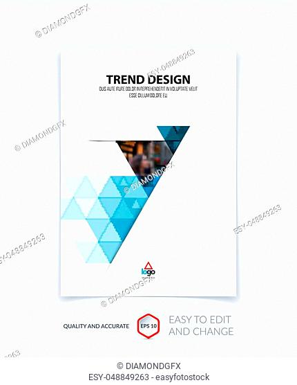 Brochure template layout, cover design, annual report, magazine, flyer or booklet in A4 with green blue turquoise triangle geometric arrow shape on polygonal...