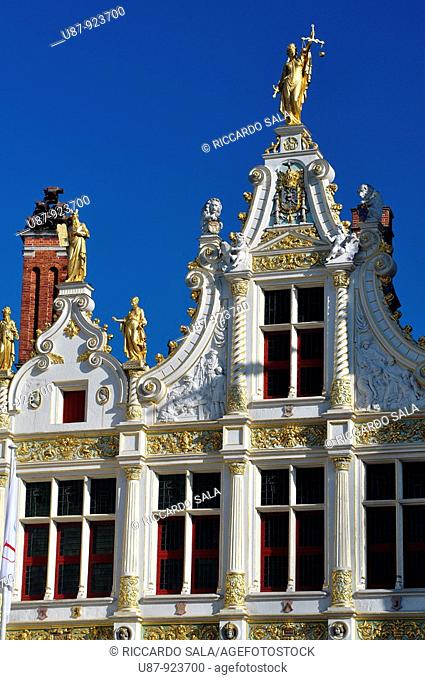Belgium, Flanders, Brugge, Burg Square, Old Recorders' House, Detail of Roof Top