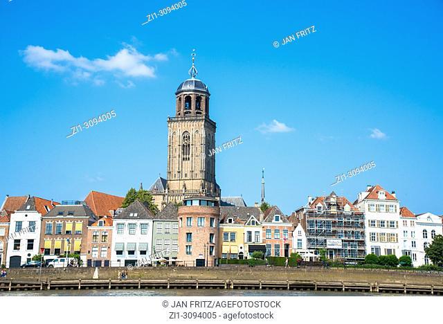 view at Deventer at river IJssel in Gelderland, Holland