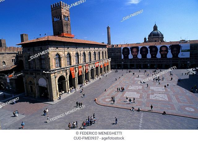 Palazzo Bianchi and Palazzo Podestà in Piazza Maggiore, Bologna, Emilia Romagna, Italy