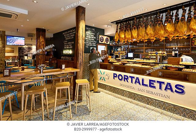 Ham, Pintxos, Bar Restaurante Portaletas, Parte Vieja, Old Town, Donostia, San Sebastian, Gipuzkoa, Basque Country, Spain