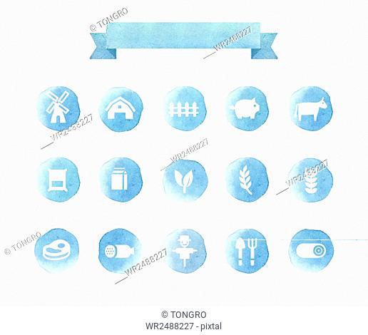 Watercolor blue icon set related to farm