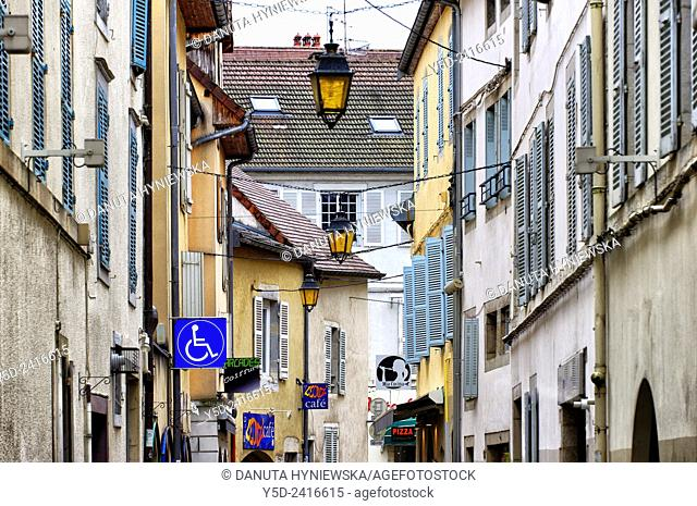 old town scene, Lons le Saunier, Department of Jura, Franche-Comte, France