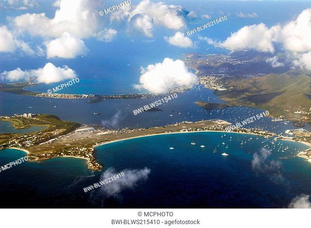 Aerial view of the Simpson Bay Lagoon and Marigot in St Martin, Netherlands Antilles