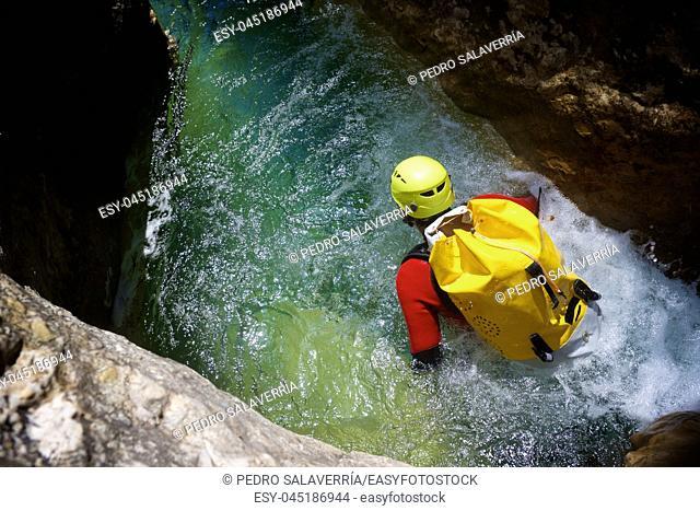 Canyoning in Formiga Canyon, Guara Mountains, Huesca Province, Aragon, Spain