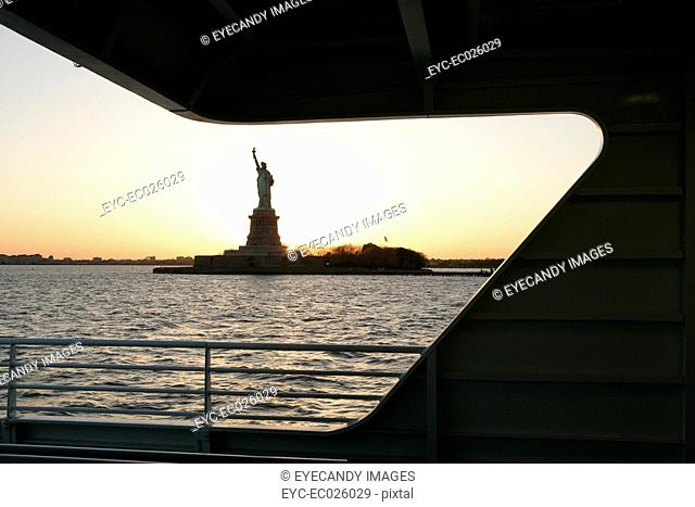 View of the Statue of Liberty from a ferryboat