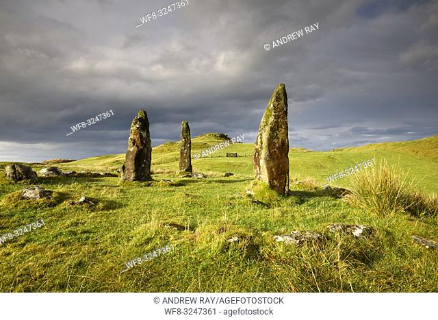 Glengorm Stone Circle on the Isle of Mull captured using a wide angle lens during a brief spell of sunlight on a stormy afternoon in early November