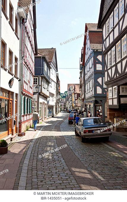 Old town, Weidenhaeuser Strasse street, Marburg, Hessen, Germany, Europe