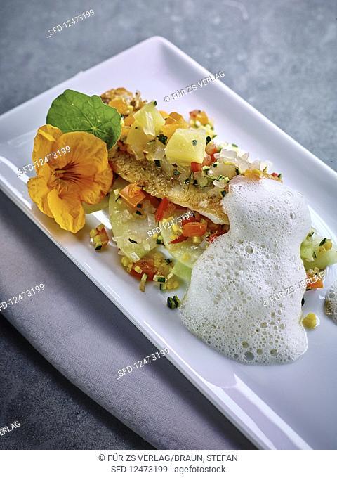 Egli with kohlrabi, vegetables and Riesling foam