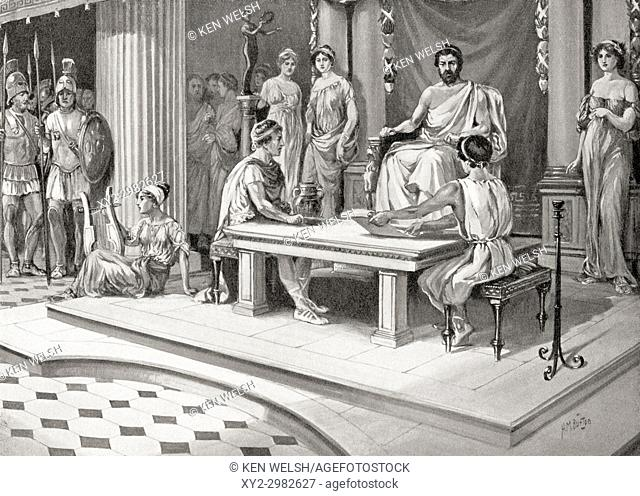 Jason of Pherae, d. 370 BC, ruler of Thessaly, holding court and settling a dispute between two of his subjects. From Hutchinson's History of the Nations