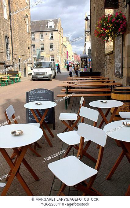 Cafe garden in the street in Edinburgh, Scotland