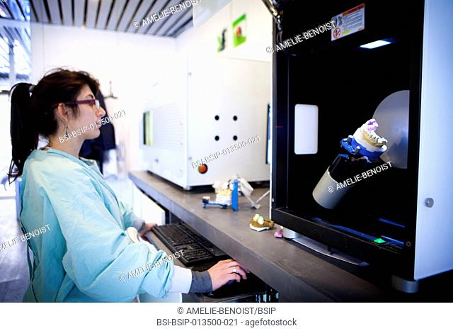 Reportage in a dental prosthesis production lab which uses a system of computer-aided design and manufacturing (CAD/CAM) and is equipped with a Zirkonzahn...