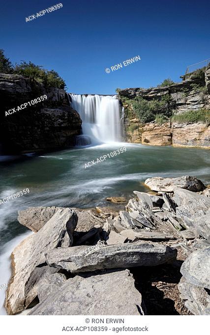Lundbreck Falls on the Crowsnest River in Lundbrek Falls Provincial Recreation Area, Alberta, Canada