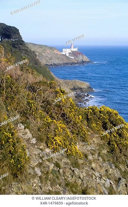 A view across Doldrum Bay toward the Old Baily Lighthouse on Howth Head, Co  Dublin, Ireland  The Baily Lighthouse was built in 1814