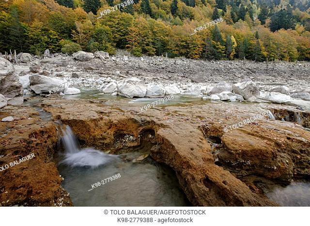 River near Senet, Lleida, Pyrenean mountain range, Catalonia , Spain