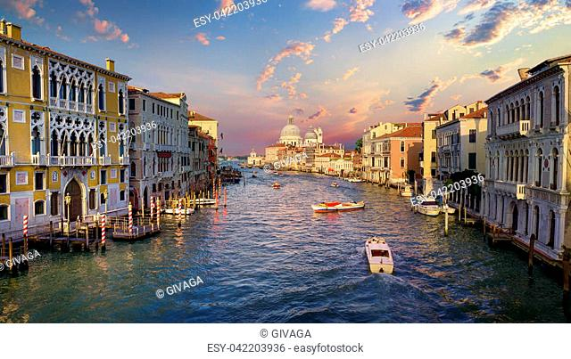 Boat at Grand Canal in Venice, Italy