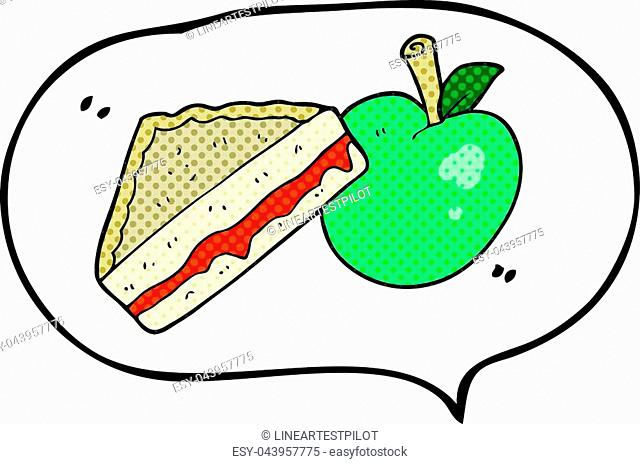 freehand drawn comic book speech bubble cartoon packed lunch