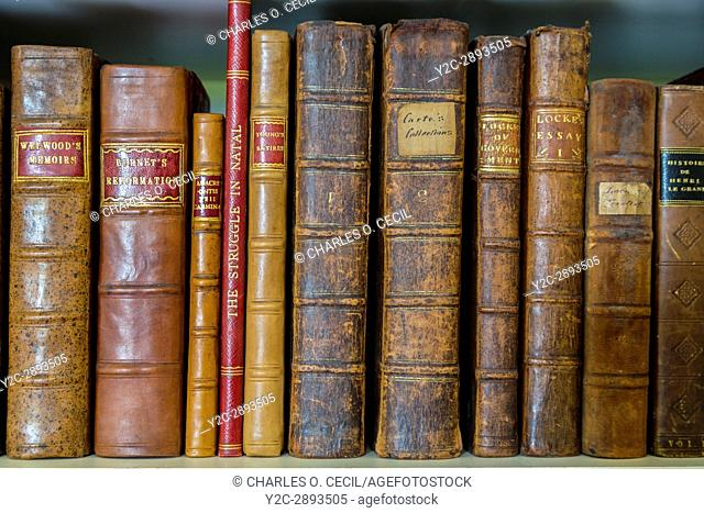 Yorkshire, England, UK. Antiquarian Books in Library of a Country Estate