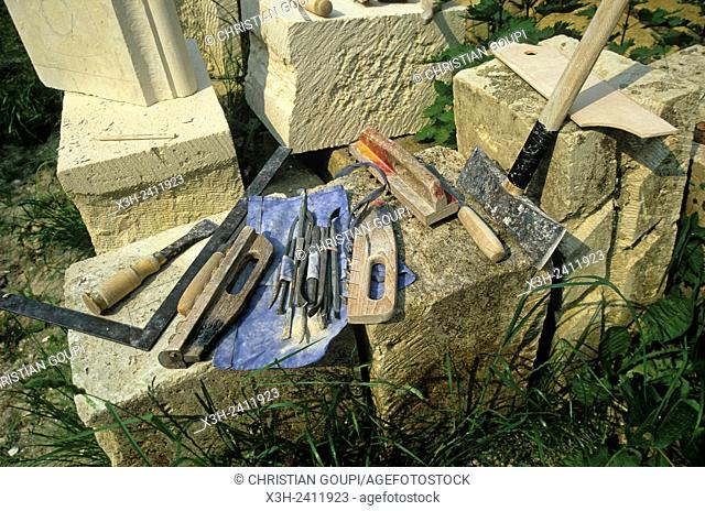 stonemason's tools at the medieval fortified castle at Coucy-le-Chateau-Auffrique, Aisne department, Picardy region, northern France, Europe