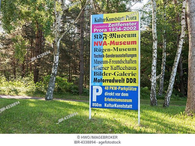Today's information board in Prora, former seaside resort Rügen of the Kraft durch Freude or KdF organization, unfinished major project under National Socialism