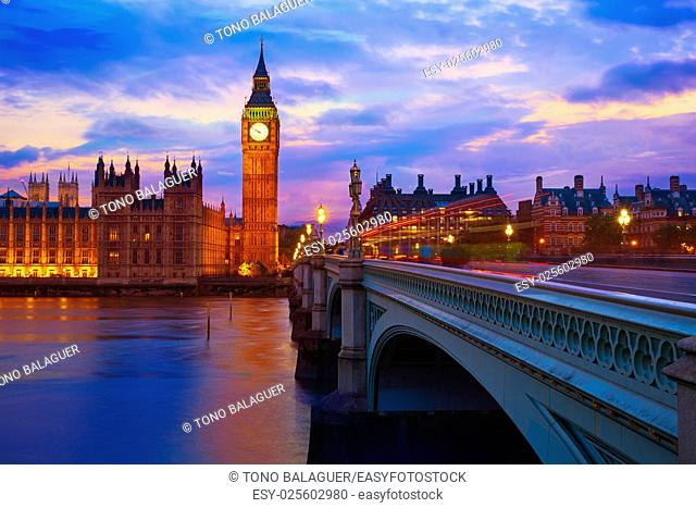 Big Ben Clock Tower London at Thames River England