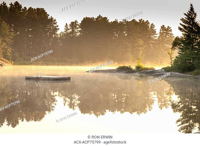 Morning mist over Grundy Lake Provincial Park, Ontario, Canada