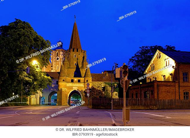 Kreuztor gate in front of the tower of the Minister to our Dear and Beautiful Lady, Ingolstadt, Upper Bavaria, Bavaria, Germany