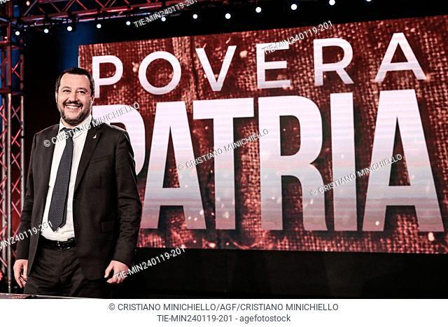 Italian Minister of Interior and Deputy Prime Minister Matteo Salvini attends at the tv show Povera Patria, Rome, ITALY-24-01-2019