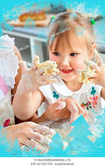 Woman baking cookies with her daughter