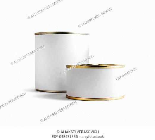 Two blank food tin cans isolated on white background. Ready for your design. Clipping path