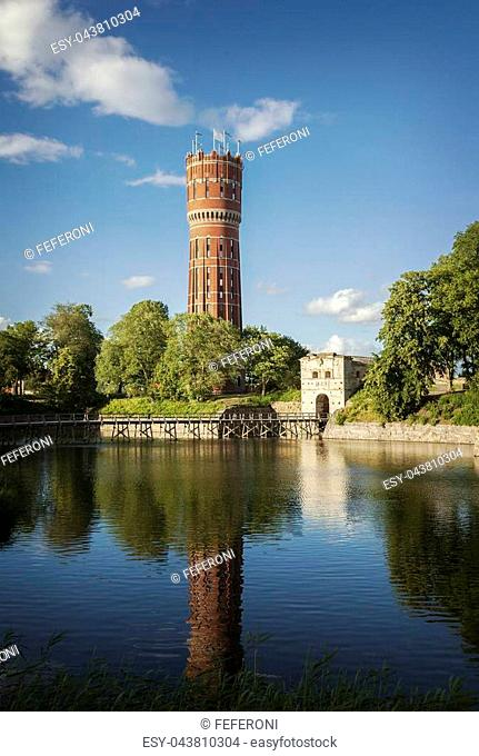 Image of the old water-tower in Kalmar, Sweden. Next to it is the old city gate