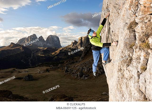 Dolomites, Fassa Valley, Italy, Europe, Trentino, climber