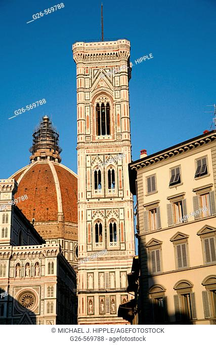 Duomo and Giotto's tower in foreground, Florence. Tuscany, Italy