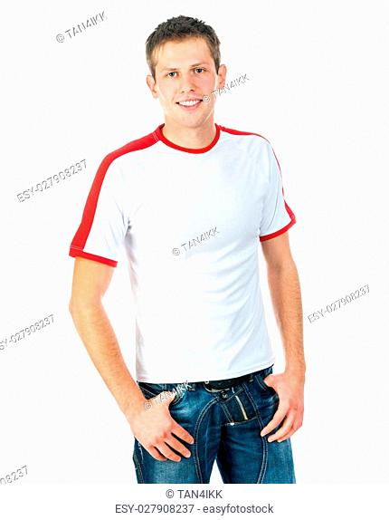 happy young man in a white t-shirt