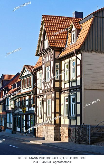 Row of timbered houses in Wernigerode, Saxony Anhalt, Germany, Europe